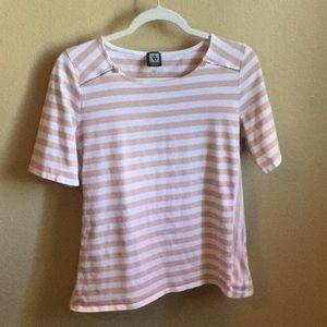 Anne Klein Sport size small tan & white stripe top